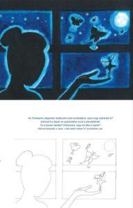 A képen a mesekönyv egyik illusztrációja és a hozzá tartozó, kiszínezhető vázlat látható