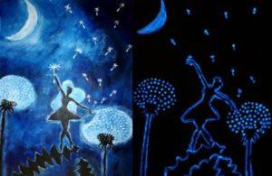 A képen a Tündérpihe táncát ábrázoló festményt láthatjuk éjjel világtva és nappal.