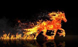 Egy tűzből nőtt ló vágtat a képen