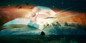 Fantáziakép, melyen egy nő bújik elő egy könyv lapjai közül